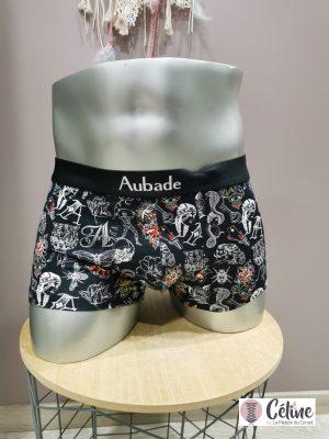 Boxer Aubademen Trunk noir motif BLAT