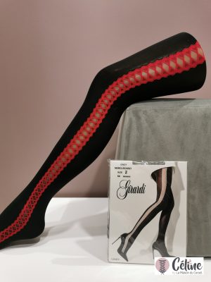 Collant fantaisie Girardi Cindy noir rouge
