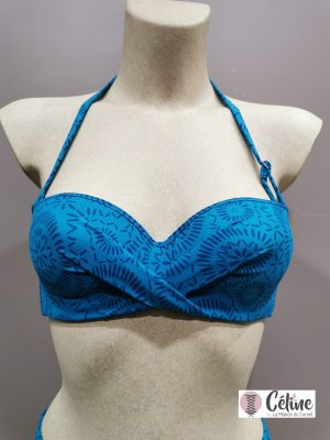 Soutien gorge bandeau maillot de bain Antigel de Lise Charmel L'Ethnica bleu canard