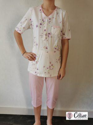 Pyjama corsaire Ringella Violette ivoire