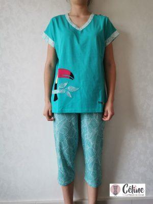 Pyjama corsaire Rose Pomme Toucan vert