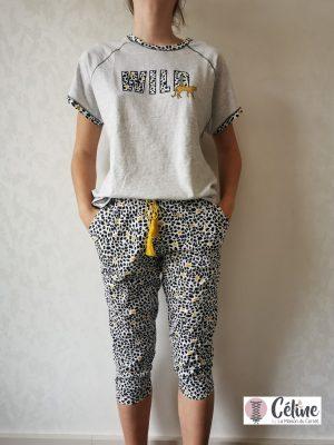 Pyjama pantacourt Pastunette Rebelle Savane panthère