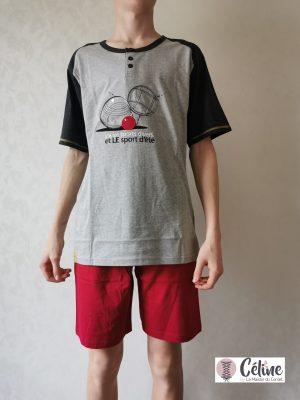 Pyjashort Homme Rose Pomme Sport d'été gris fushia