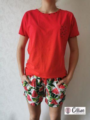 Pyjashort Pastunette Rebelle Pastèque rouge