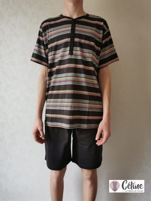 Pyjashort Pastunette rayé multicolor