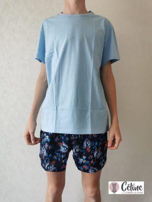 Pyjama short HOM Morgiou blue