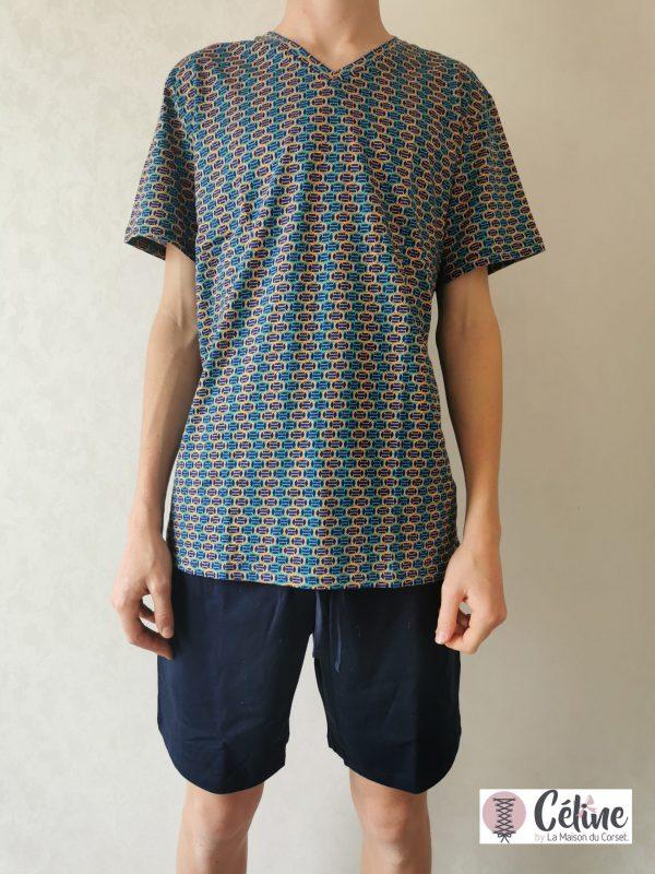 Pyjama short HOM Pop Art navy print