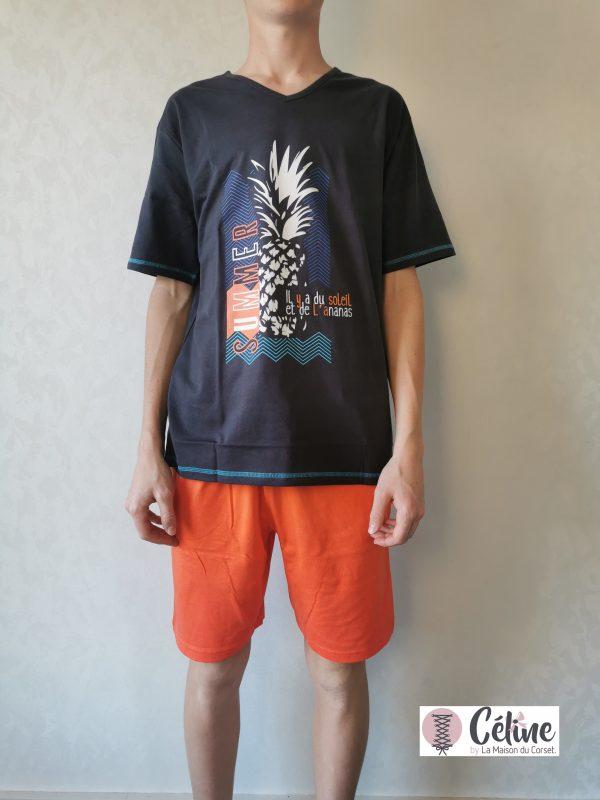 Pyjashort Rose Pomme Homme Summer gris orange