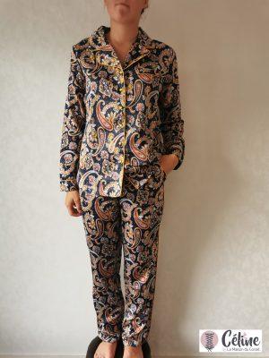 Pyjama d'intérieur Pastunette Satin marine cachemire