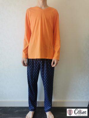 Pyjama long HOM Malmousque orange