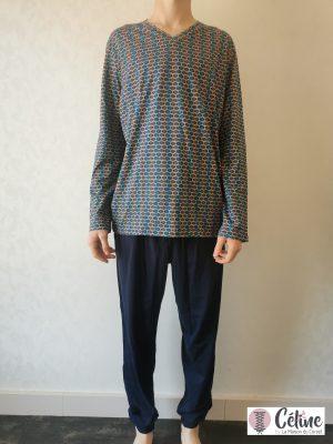 Pyjama long HOM Pop Art navy print